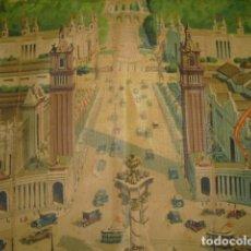 Carteles de Turismo: OLEOGRAFIA EXPOSICION BARCELONA 1929,SIN MARCO NI BASTIDOR , 45X60 APROX,SERIGRAFIA SOBRE TEXTIL. Lote 105671027