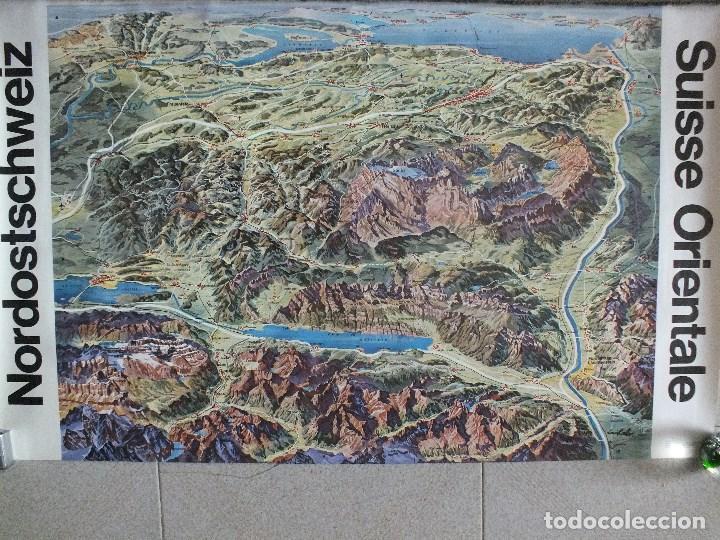 SUIZA LOS ALPES SUIZOS MONTAÑA ALPINISMO MAPA PANORÁMICO CARTEL TURISMO PUBLICITARIO (Coleccionismo - Carteles Gran Formato - Carteles Turismo)