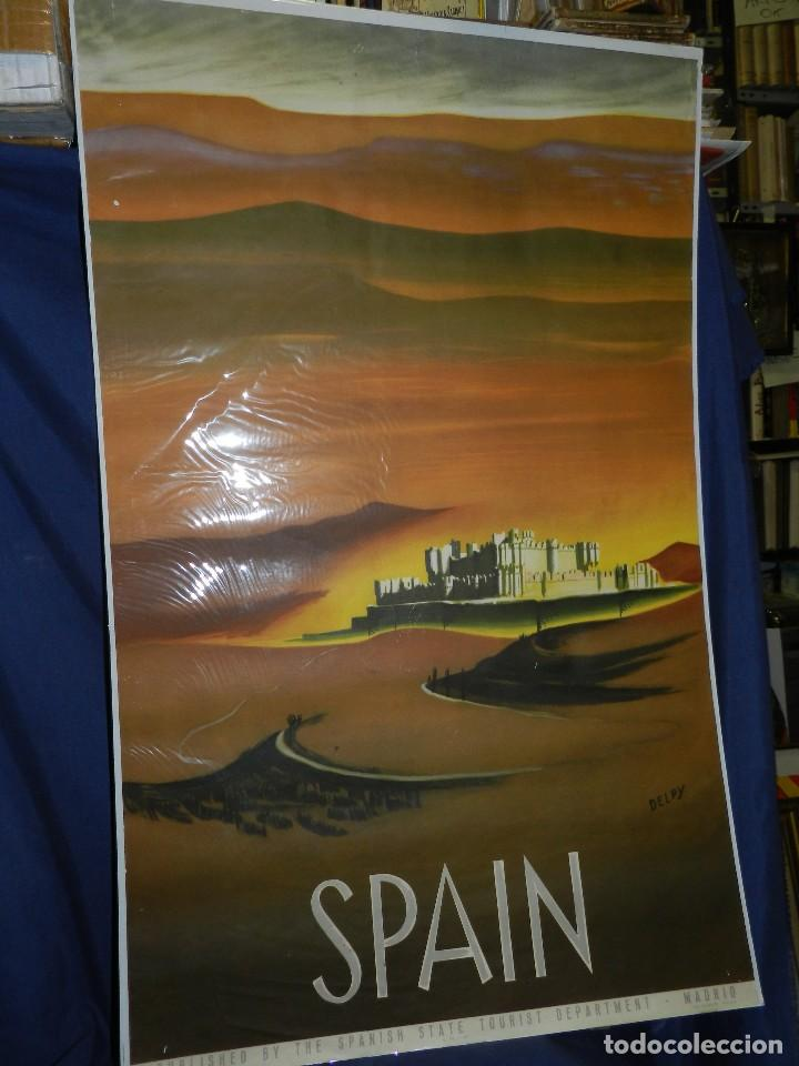(M) CARTEL SPAIN ( ESPAÑA ) PATRONATO GENERAL DE TURISMO MADRID , ILUSTRADO POR DELPY (Coleccionismo - Carteles Gran Formato - Carteles Turismo)