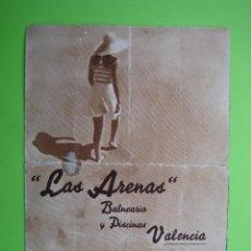 Carteles de Turismo: ANTIGUO PROGRAMA BALNEARIO DE LAS ARENAS. VALENCIO. Lote 128021219