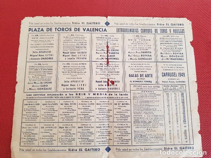 Carteles de Turismo: PROGRAMA DE MANO FERIA DE JULIO VALENCIA AÑO 1949 - Foto 2 - 128091167