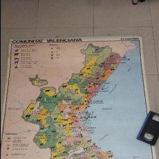 Carteles de Turismo: MAPA TURISTICO POLITIC Y ECONOMIC DE LA COMUNITAT VALENCIANA TAMAÑO 130X90 CM COMO NUEVO. Lote 128533771