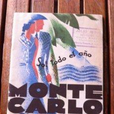 Carteles de Turismo: GUÍA DE VIAJE FOLLETO TURÍSTICO MONTECARLO. ART DECO. 1930-1931. Lote 130308226