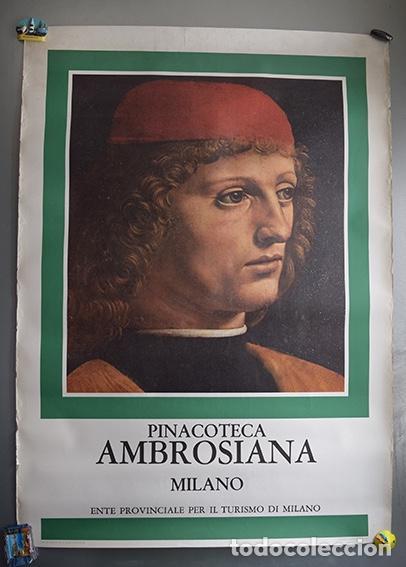 CARTEL PINACOTECA AMBROSIANA, MILÁN. (RETRATO DE UN MÚSICO - LEONARDO DA VINCI) - 97 X 70 CM (Coleccionismo - Carteles Gran Formato - Carteles Turismo)