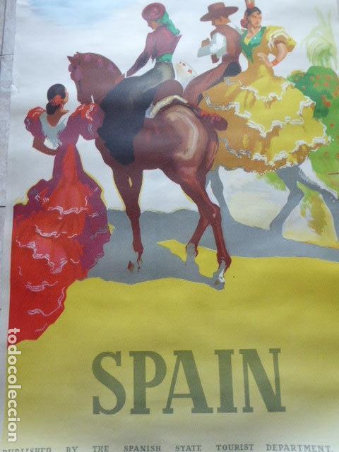 CARTEL DE TURISMO DE ESPAÑA. DIBUJADO POR MORELL. LIT. ORLA. 62 X 97 CM APROX. AÑOS 50-60. (Coleccionismo - Carteles Gran Formato - Carteles Turismo)