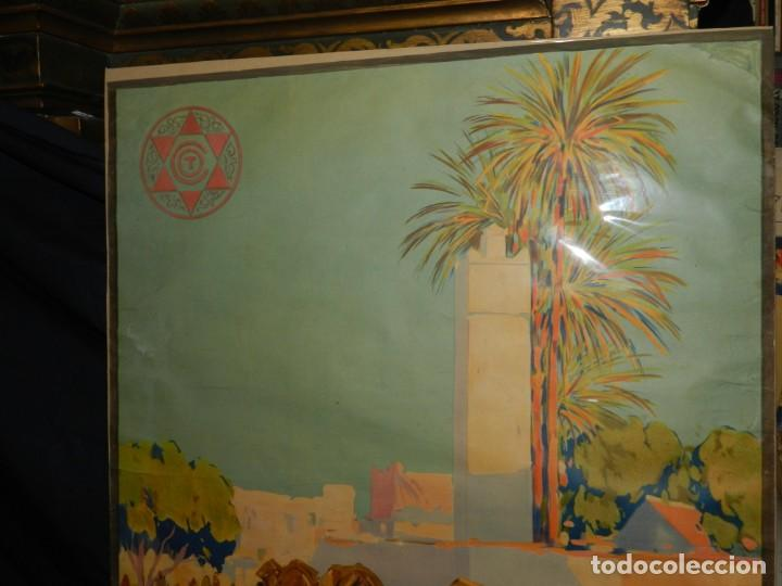 Carteles de Turismo: CARTEL ORIGINAL COMITE OFICIAL DE TURISMO ALCAZAR PROTECTORADO REPUBLICA ESPAÑOLA EN MARRUECOS - Foto 2 - 139547662