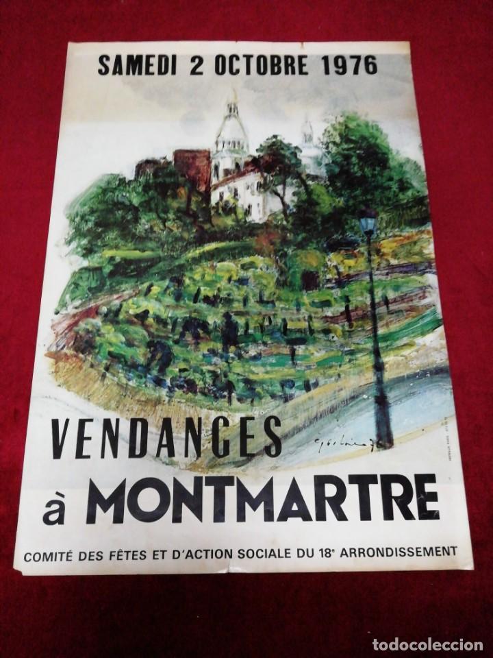 ANTIGUO CARTEL VENDANCES À MONTMARTRE 1976 (Coleccionismo - Carteles Gran Formato - Carteles Turismo)