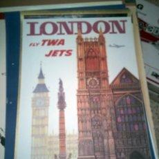 Carteles de Turismo: LONDON FLY TWA JETS (DAVID KLEIN). Lote 150085586
