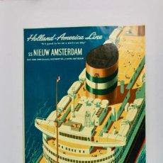 Carteles de Turismo: LIT-65 CARTEL DE EPOCA.GRANDES DIMENSIONES,HOLLAND AMERICA LINE SS NIEUW AMSTERDAM.. Lote 152396482