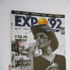 Carteles de Turismo: CARTEL PUBLICITARIO DE LA EXPO-92 SEVILLA FRANCES , CON PLANO DE LA EXPO (PLAN L´ILLE DE LA CARTUJA. Lote 157766114