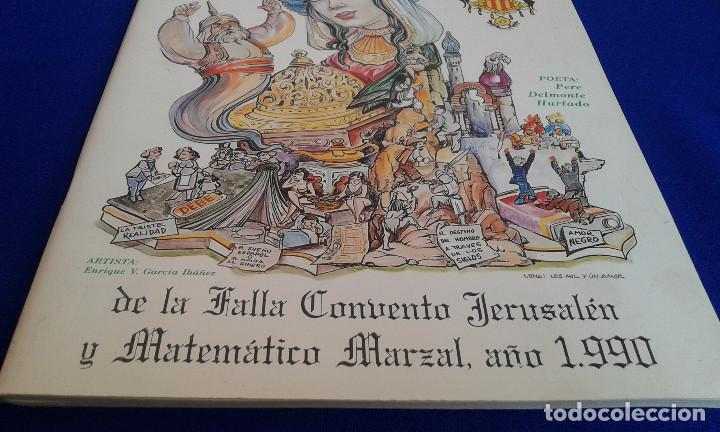 Carteles de Turismo: LLIBRET FALLA CONVENTO JERUSALEN -MATEMATICO MARZAL 1990 - Foto 6 - 162107158