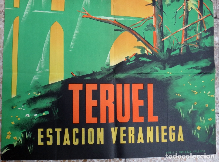 Carteles de Turismo: CARTEL TURISMO, TERUEL , ESTACION VERANIEGA , AÑOS 1940 -50 ,LITOGRAFIA , GRANDE , ORIGINAL - Foto 3 - 170972088