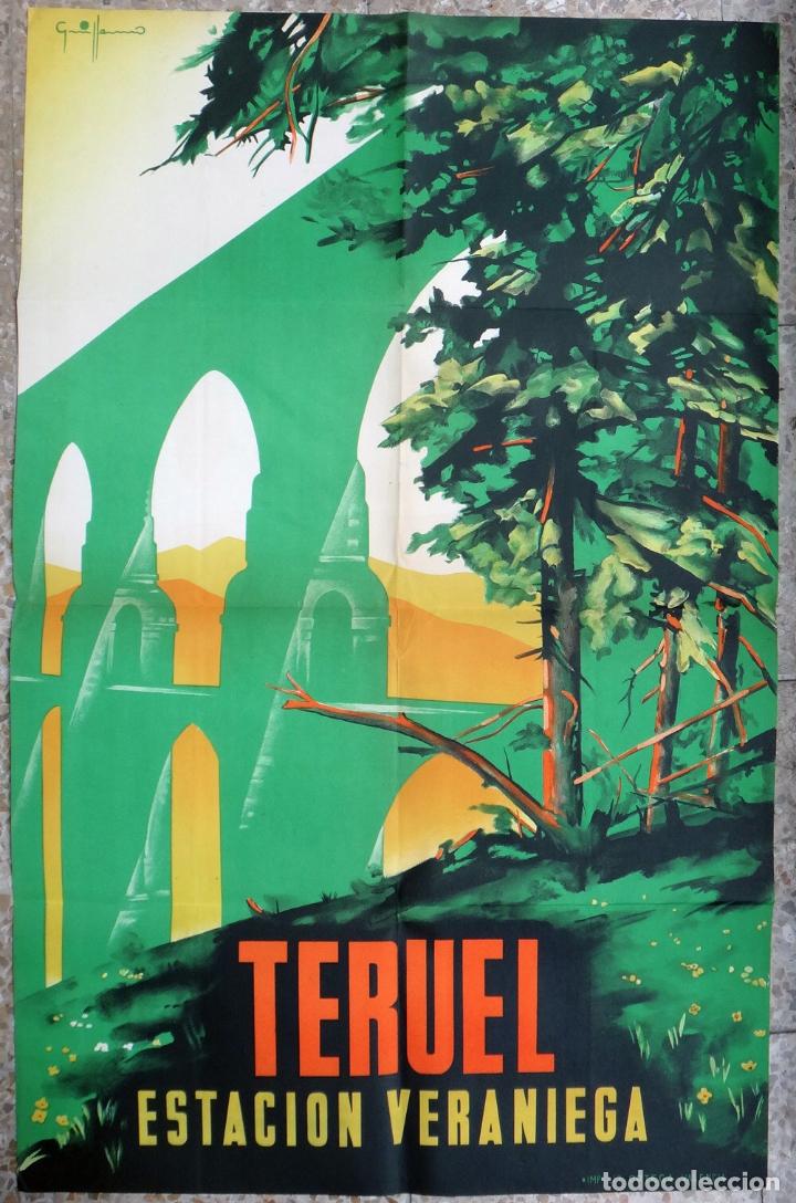 CARTEL TURISMO, TERUEL , ESTACION VERANIEGA , AÑOS 1940 -50 ,LITOGRAFIA , GRANDE , ORIGINAL (Coleccionismo - Carteles Gran Formato - Carteles Turismo)