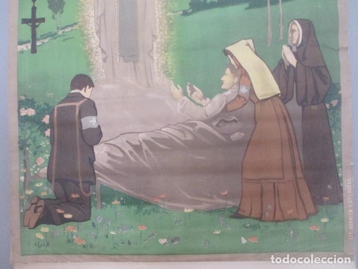 Carteles de Turismo: CARTEL TURISMO, A LOURDES, V PELEGRINACION DIOCESANA, MUY ANTIGUO, AÑOS 1930, LITOGRAFIA - Foto 3 - 172226812