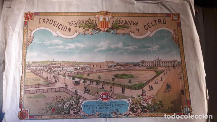 Carteles de Turismo: Cartel Exposicón Reginal Vilanova Geltru Barcelona 1882 pabellones Sociedad Agramunt - Foto 2 - 172588008