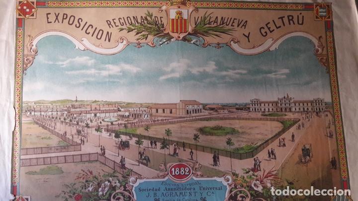 CARTEL EXPOSICÓN REGINAL VILANOVA GELTRU BARCELONA 1882 PABELLONES SOCIEDAD AGRAMUNT (Coleccionismo - Carteles Gran Formato - Carteles Turismo)
