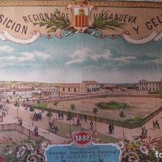 Carteles de Turismo: CARTEL EXPOSICÓN REGINAL VILANOVA GELTRU BARCELONA 1882 PABELLONES SOCIEDAD AGRAMUNT. Lote 172588008