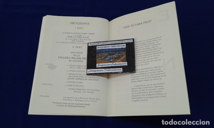 Carteles de Turismo: SOLEMNE EXALTACION FALLERA MAYOR INFANTIL DE VALENCIA 1991 - Foto 8 - 174193092