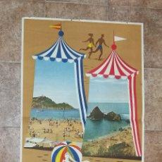 Carteles de Turismo: CARTEL TURISMO PLAYAS DE GUIPÚZCOA SPAIN 1959. Lote 178284283