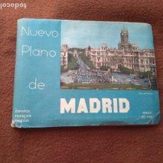 Carteles de Turismo: NUEVO PLANO DE MADRID DESPLEGABLE CON LÍNEA METRO AÑOS 50 MAPA. Lote 178678207