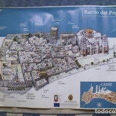 Carteles de Turismo: CARTEL PLANO BARRIO DEL PÓPULO DE CÁDIZ - DELEGACIÓN MUNICIPAL TURISMO. Lote 181981730