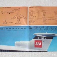 Carteles de Turismo: BRITISH EUROPEAN AIRWAYS, CARTEL POSTER DESPLEGABLE GRAN TAMAÑO HAWKER SIDDELEY TRIDENT - AÑOS 60. Lote 182595570
