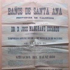 Carteles de Turismo: CARTEL BALNEARIO BAÑOS DE SANTA ANA VALENCIA ANTIGUO MEDICO D. JOSE MANGRANE ESCARDO. Lote 183709956