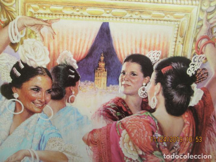 Carteles de Turismo: CARTEL SEVILLA 2010 FERIA DE ABRIL - JUAN VALDÉS - ENMARCADO VER FOTOS. MEDIDAS 40X55 CM. - Foto 4 - 184400818