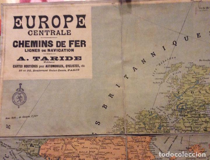 EUROPE CENTRALE CHEMINS DE FER LIGNES DE NAVIGATION-A.TARIDE 100X80 CM-CIRCA 1900 (Coleccionismo - Carteles Gran Formato - Carteles Turismo)