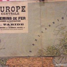 Carteles de Turismo: EUROPE CENTRALE CHEMINS DE FER LIGNES DE NAVIGATION-A.TARIDE 100X80 CM-CIRCA 1900. Lote 190337018