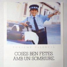 Carteles de Turismo: CARTEL MARCA TURÍSTICA VALENCIA. ITVA, 1990-91. 2 TURISME VALENCIÀ. COSES BEN FETES, AMB UN SONRIURE. Lote 191335755