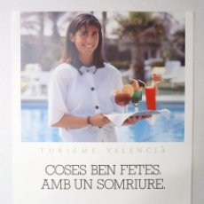 Carteles de Turismo: CARTEL MARCA TURÍSTICA VALENCIA. ITVA, 1990-91. 7 TURISME VALENCIÀ. COSES BEN FETES, AMB UN SONRIURE. Lote 191336122