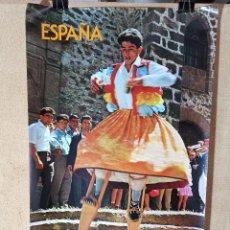 Carteles de Turismo: CARTEL ORIGINAL SECRETARIA ESTADO TURISMO - DANZA DE LOS ZANCOS-ANGUIANO,-- 1980-----100 X 70 APRX.. Lote 193924598