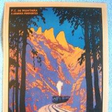 Carteles de Turismo: CARTEL POSTER RETRO - MONTSERRAT BARCELONA CATALUÑA - FERROCARRILS DE MONTAÑA DE LA GENERALITAT 1930. Lote 194975483