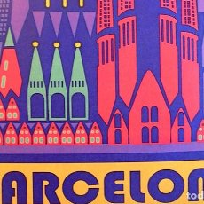 Carteles de Turismo: CARTEL POSTER RETRO MODERNISTA - BARCELONA, CATALUÑA - CATEDRAL, SAGRADA FAMILIA.. Lote 199000202
