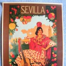Carteles de Turismo: CARTEL POSTER RETRO VINTAGE - SEVILLA - SEMANA SANTA - FERIA ABRIL PRIMAVERA - AÑO 1919.. Lote 199001041