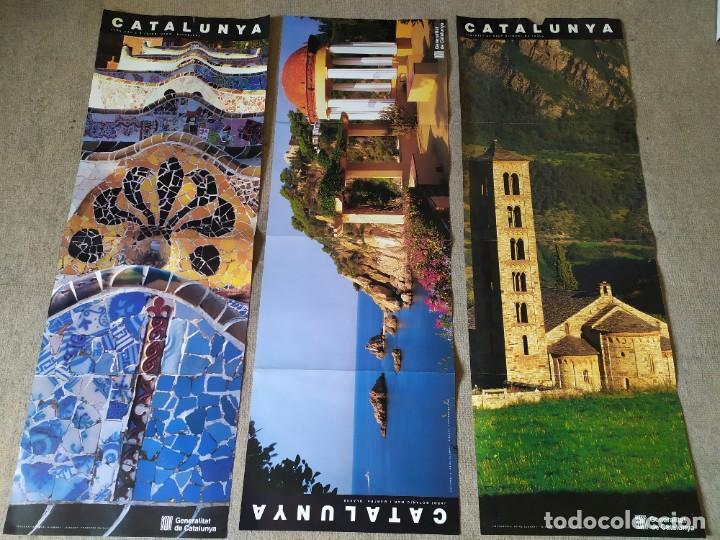 3 PÓSTERS CATALUNYA (PARC GÜELL, BLANES, SANT CLIMENT DE TAÜLL) (Coleccionismo - Carteles Gran Formato - Carteles Turismo)