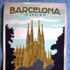 Carteles de Turismo: CARTEL POSTER RETRO TURISMO BARCELONA, CATALUÑA. SAGRADA FAMILIA - MUY BUEN ESTADO.. Lote 199575357