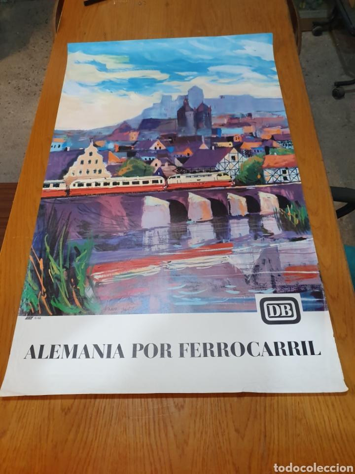 ALEMANIA POR FERROCARRIL, FIRMADO, HANSSCHMANDT, 15/ 68, 100 CM X 62 (Coleccionismo - Carteles Gran Formato - Carteles Turismo)