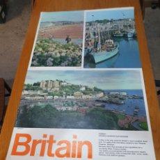 Carteles de Turismo: BRITAIN, TORBAY, DEVON'S GOLDEN PLAYGROUND, 102 CM X 63 CM.. Lote 200065522