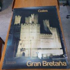 Carteles de Turismo: GALES, GRAN BRETAÑA, DE 1970 100 CM X 71 CM.. Lote 200099935