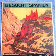 Carteles de Turismo: CARTEL POSTER RETRO ASTURIAS COVADONGA. EN ALEMAN - PATRONATO NACIONAL DE TURISMO REPUBLICA ESPAÑOLA. Lote 296045703
