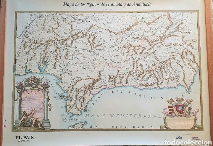 MAPA DE LOS REINOS DE GRANADA Y ANDALUCIA.REPRODUCCION DE G.ROSSI,1696 (Coleccionismo - Carteles Gran Formato - Carteles Turismo)