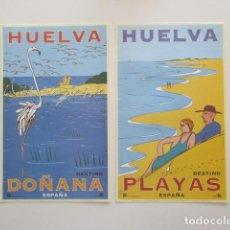 Carteles de Turismo: CARPETA CON LOS CARTELES ARTÍSTICOS TURISMO HUELVA . OSCAR MARINE / CHRISTIAN BOYER.. Lote 205404788