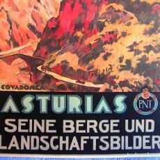 Carteles de Turismo: CARTEL POSTER RETRO ASTURIAS COVADONGA. EN ALEMAN - PATRONATO NACIONAL DE TURISMO REPUBLICA ESPAÑOLA. Lote 205661371