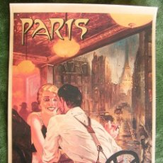 Carteles de Turismo: CARTEL POSTER - RETRO VINTAGE - PARIS EN EL BISTROT, TORRE EIFFEL, FRANCIA.. Lote 206947261