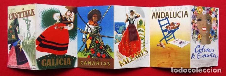 COLORES DE ESPAÑA. AÑOS 50. DESPLEGABLE COMPLETO. POSTALES. CARTELES. DIRECCIÓN GENERAL DE TURISMO. (Coleccionismo - Carteles Gran Formato - Carteles Turismo)