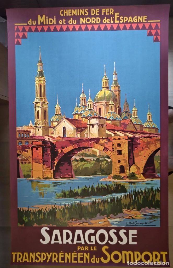 Carteles de Turismo: Champseix. Chemins de fer. Espagne. Saragosse. Zaragoza. Somport. Litográfico - Foto 2 - 207399570