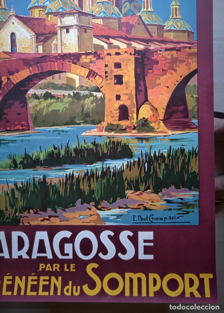 Carteles de Turismo: Champseix. Chemins de fer. Espagne. Saragosse. Zaragoza. Somport. Litográfico - Foto 7 - 207399570