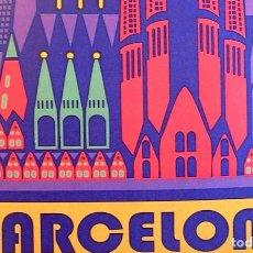 Carteles de Turismo: CARTEL POSTER RETRO MODERNISTA - BARCELONA, CATALUÑA - CATEDRAL, SAGRADA FAMILIA.. Lote 210420033